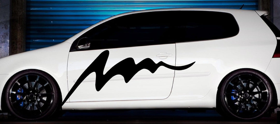 wave vinyl stripe on white car