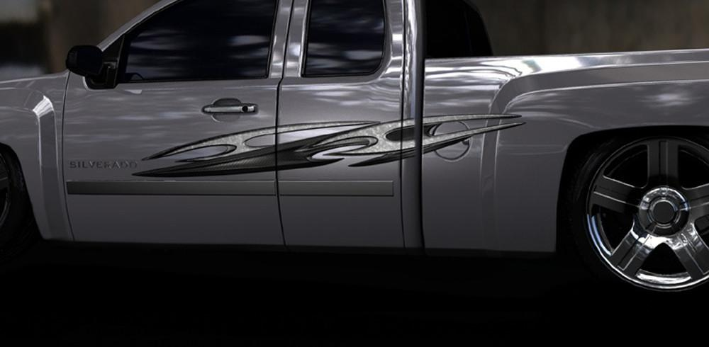 tribal carbon fiber decal on silver truck