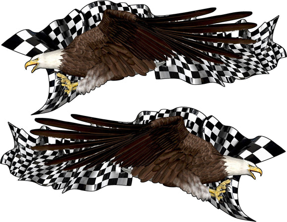 Checker flag bald eagle decal  on blue semi