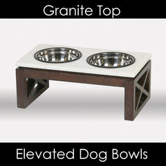 Granite Top Elevated Dog Feeder Bowls