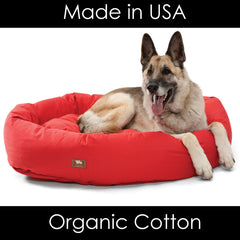 Organic Cotton Dog Bed Non-Toxic Made in USA Dog Beds Memory Foam Orthopedic Support for Dogs with Arthritus