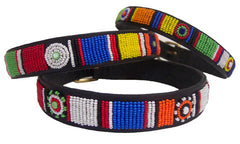 1/2 INCH WIDE -  Circle of Life: Kenyan Maasai Beaded Dog Collar