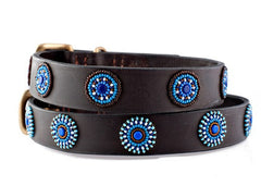 Blue Circles: Kenyan Maasai Beaded Dog Collar