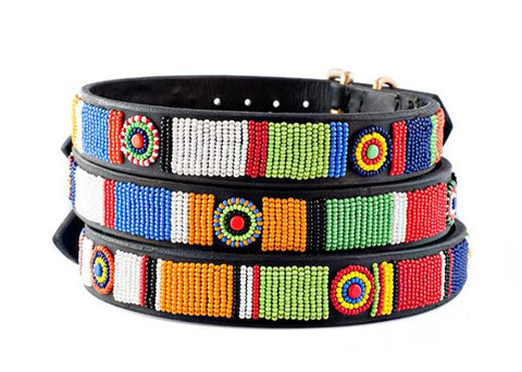 3/4 Inch wide Circle of Life: Kenyan Maasai Beaded Dog Collar