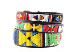 XL Wide Primary: Kenyan Maasai Beaded Dog Collar (2 inches wide - Tapers on ends)