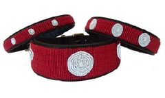 Red & White: Kenyan Maasai Beaded Dog Collar
