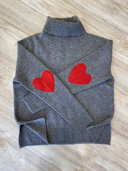 Cashmere Heart Elbow Turtleneck Grey
