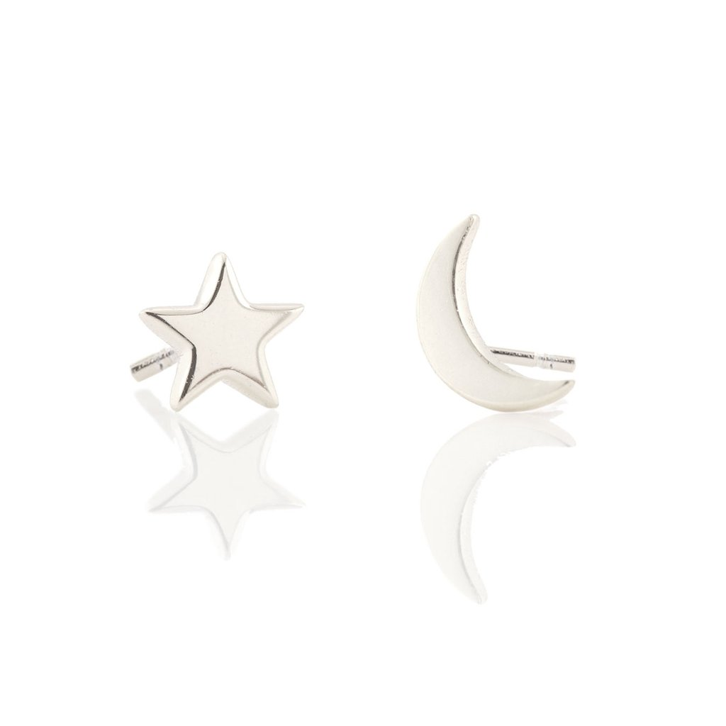 Star & Moon Stud Silver