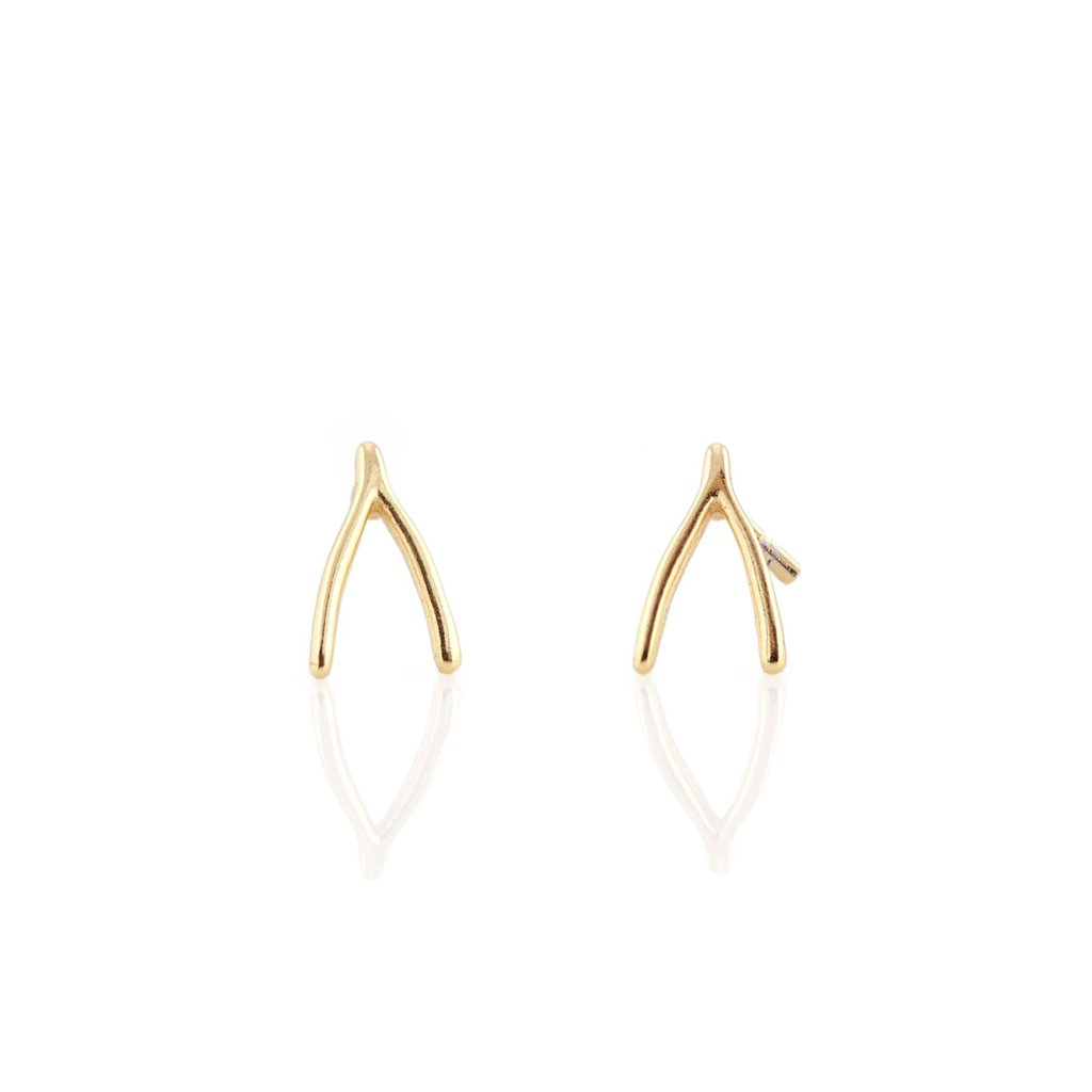 Wishbone Stud Earrings - Gold