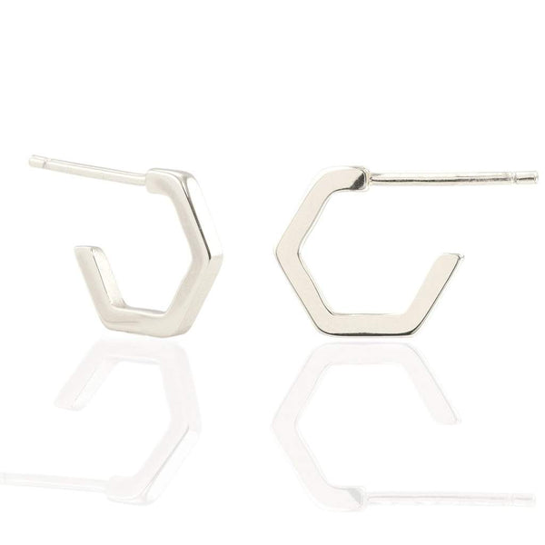 Hexagon Huggie Hoop Earring