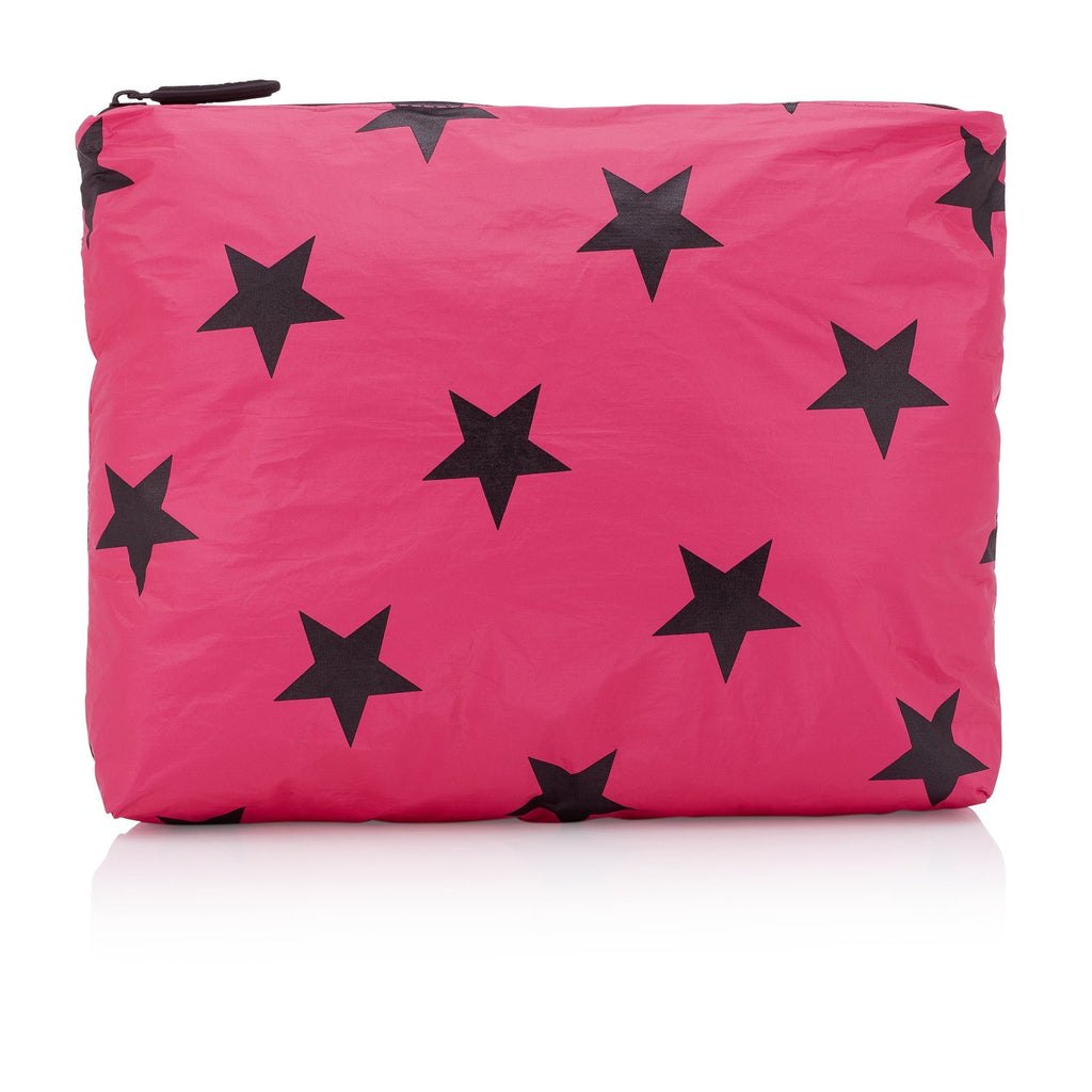 Large Zipper Cosmetic Bag -Pink Peacock with Black Stars