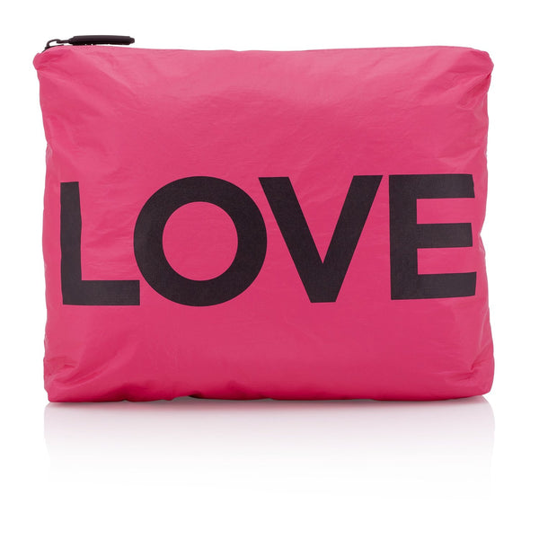 "Large Zipper Pouch Pink Peacock with ""LOVE"""