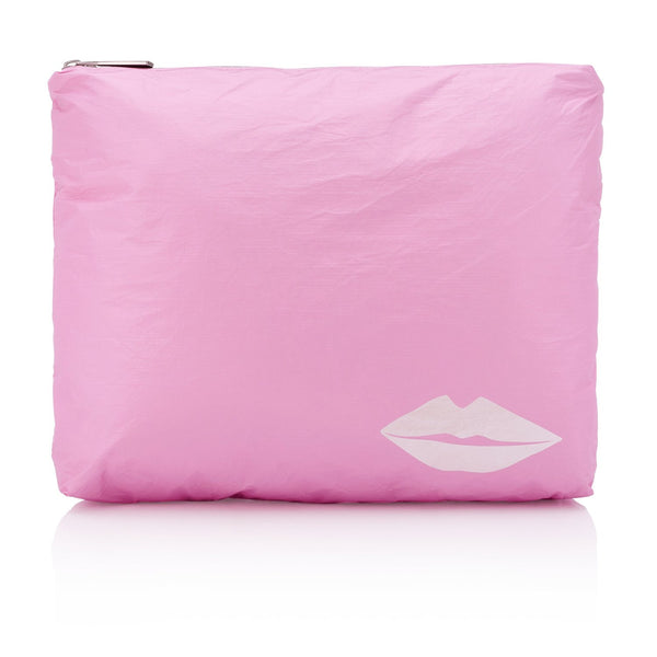 Large Zipper Pouch Sweet Lilac with Metallic Lips