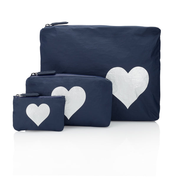 Navy Heart Pouch Collection with a Metallic Silver Heart