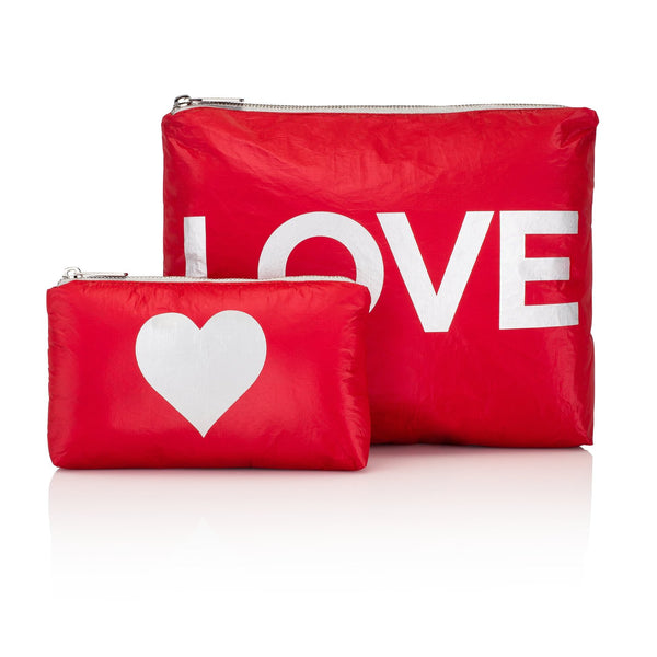 "Chili Pepper Red with Silver ""LOVE"" & Heart Pouches"