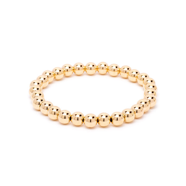 6mm Beaded Stretch Bracelet - Gold