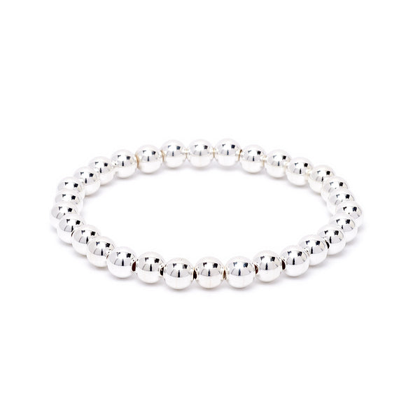 6mm Beaded Stretch Bracelet - Silver