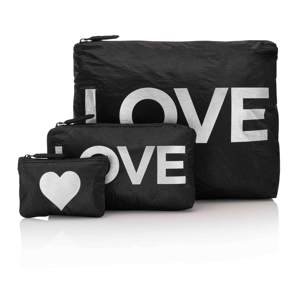 Black with Metallic Silver Love/Heart Pouches
