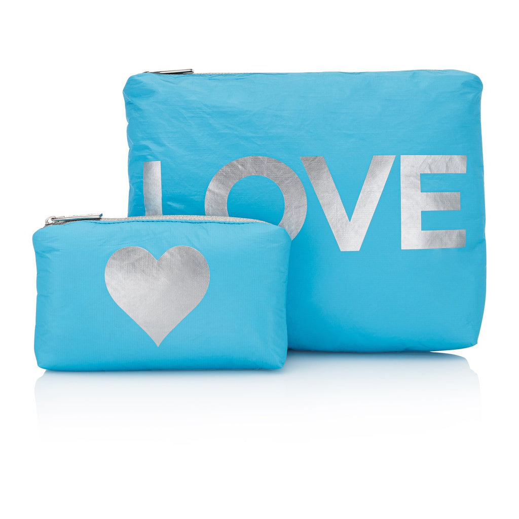 "Sky Blue with Silver ""LOVE"" &  Heart Pouches"
