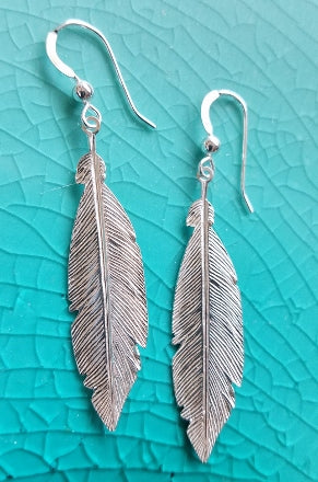 Sterling Silver Large Feather Earrings