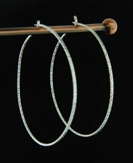 Silver Diamond Cut Hoops - 40mm