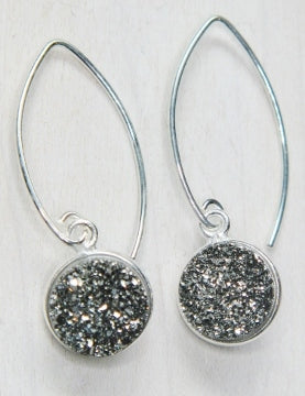Silver Bezel Druzy Marquis Earrings - Grey