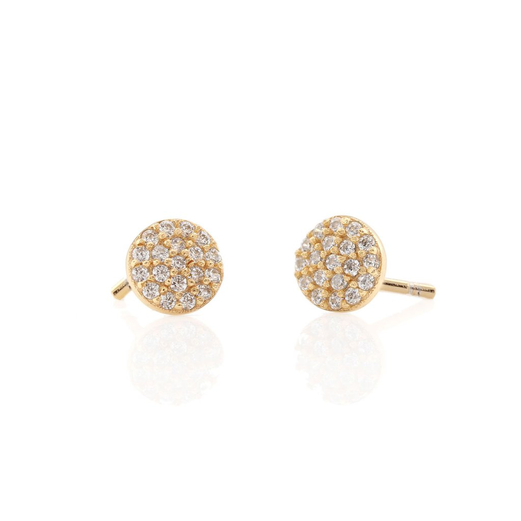 Round Pave Stud Earrings - Gold