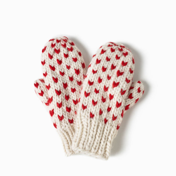 Little Hearts Fair Isle Mittens White