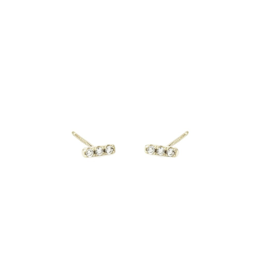 Dash Pave Earrings - Silver