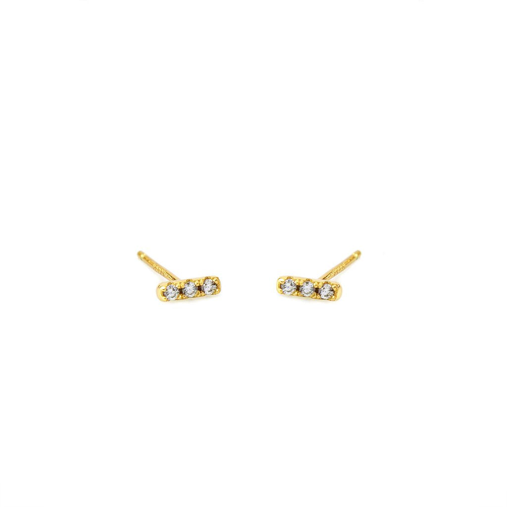 Dash Pave Earrings - Gold
