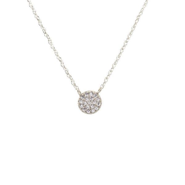 Round Pave Charm Necklace - Silver