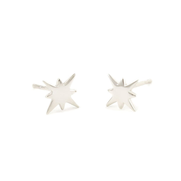 Starburst Stud Earrings - Silver
