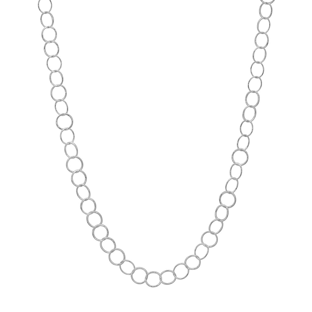 Diamond Cut Small Circle Necklace Silver