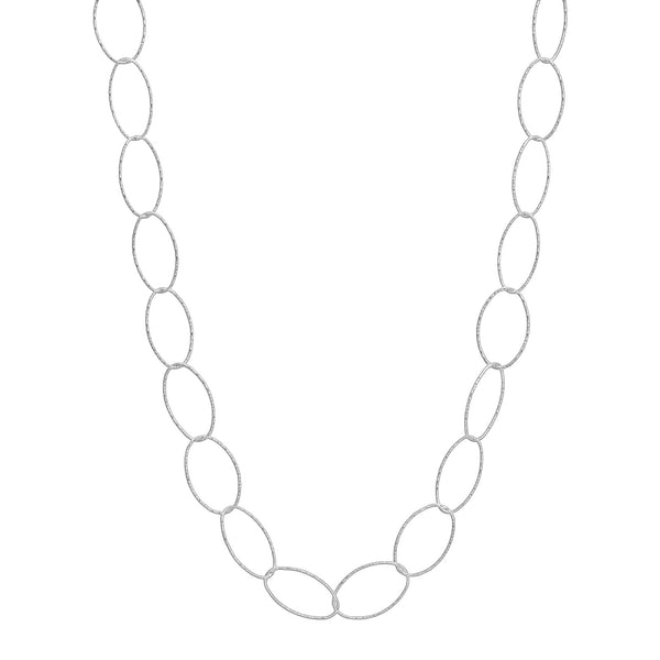 "36"" Diamond Cut Oval Necklace Silver"