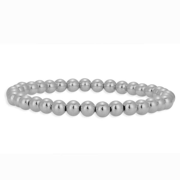 5mm Silver Plain Beaded Bracelet