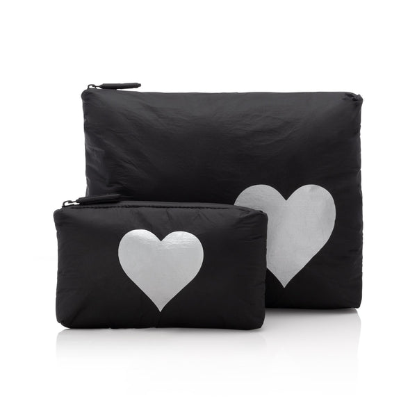 Black with Metallic Silver HEART