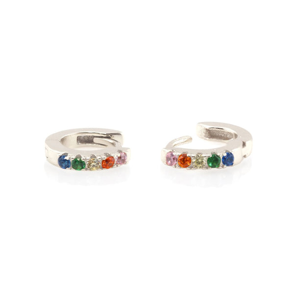 Pave Huggie Hoop Earrings -Silver/Rainbow