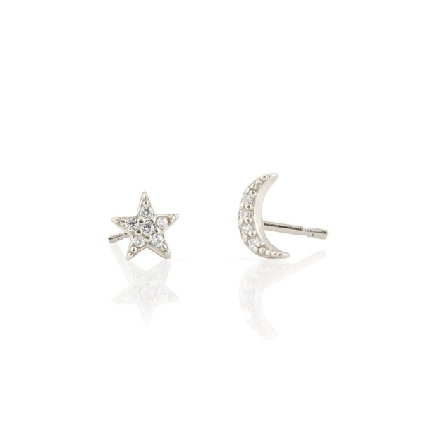 Star and Moon Pave Stud