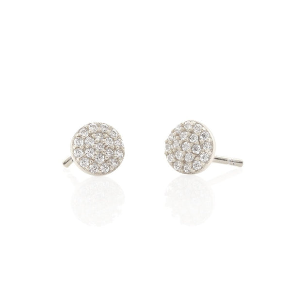 Round Pave Stud Earrings - Silver
