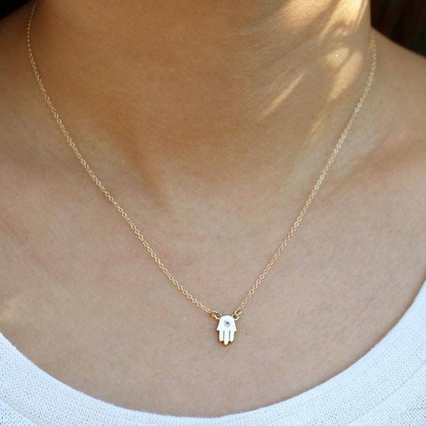 Hamsa Necklace with Crystal