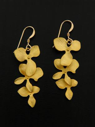 Gold Orchid Cascade Earrings