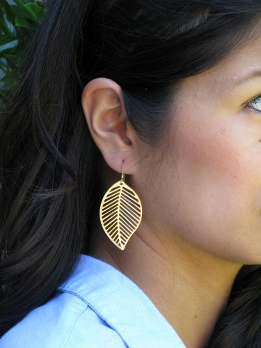Gold Matte open Leaf Earrings