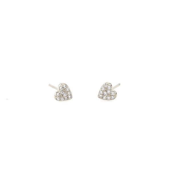 Heart Pave Stud - Silver