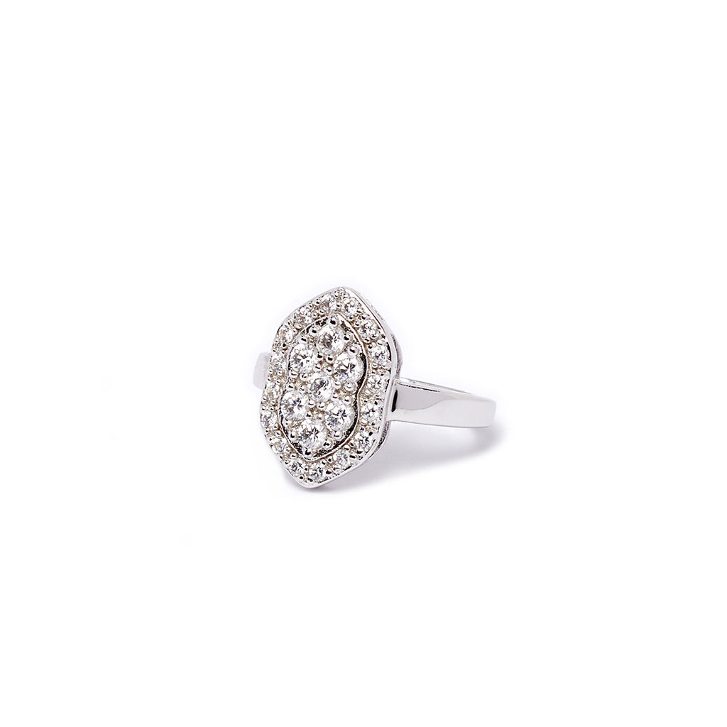 Silver Diamond Shape Ring