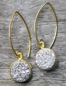 Silver Druzy Marquis Earring