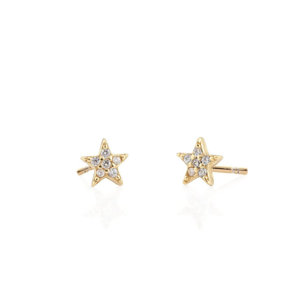 Star Pave Stud Earrings - Gold