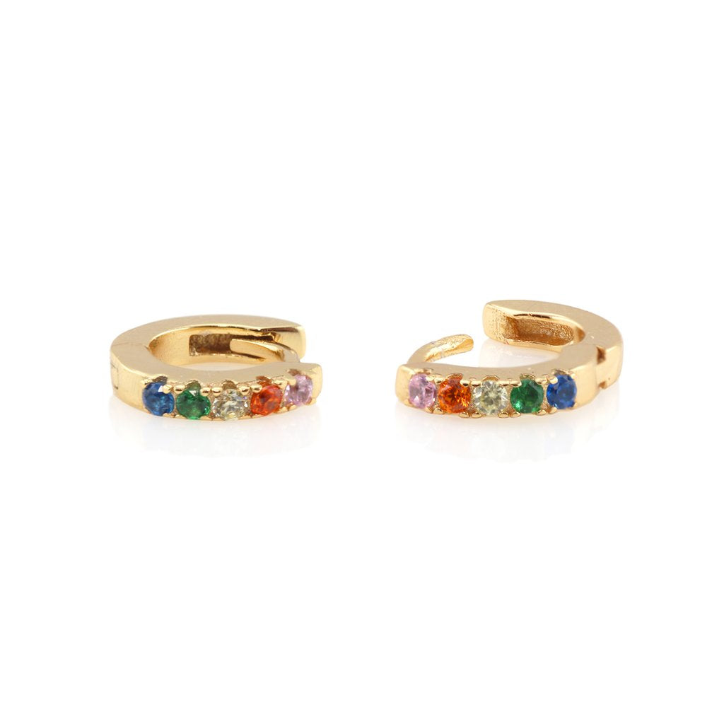 Pave Huggie Hoop Earrings - Gold/Rainbow