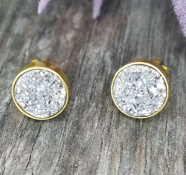 Silver Druzy Stud Earrings