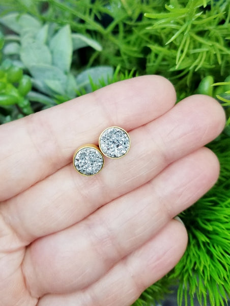 Druzy Stud Earrings - Silver