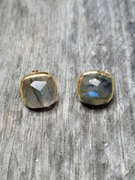 Gold Cushion Labradorite Studs Earrings